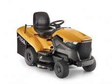 Riding mower with shelter